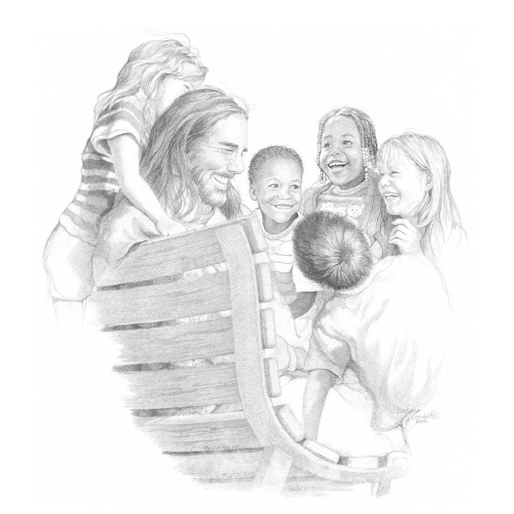 Jesus with children sketch